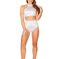 White Turtle Neck Crop Top Ravewear