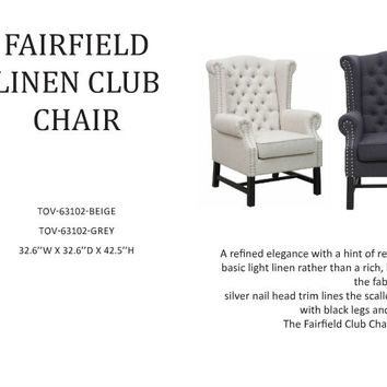 Fairfield Grey Linen Club Chair