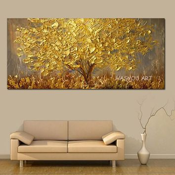 Hand-painted Knife Golden Tree Streetscape Oil Painting On Canvas AbstractScenery Pictures Wall Art Street Landscape Paintings