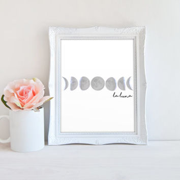 Moon Phases Sign, La Luna Printable Digital Wall Art Template, Instant Download, 8x10