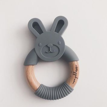 Bunny Ring Teether - Charcoal Black