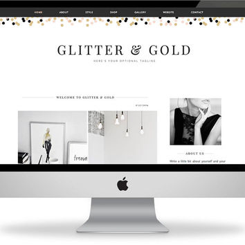 Premade Blogger Template - Instant Download - Glitter & Gold - Blogger Template - Blogger Theme - Blog Design - Blogger Blog Template