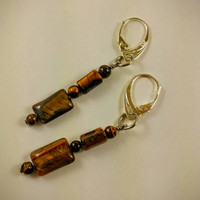 Gemstone jewelry, dangle earrings, tiger eye beads, sterling lever backs, gift idea, high quality Tigereye earrings