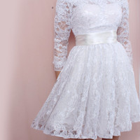 Plus Size Short wedding lace dresses / Off-Shoulder Custom Made/ ,3/4 Sleeves Bridal Gown