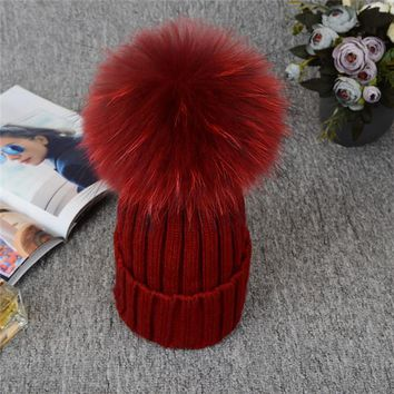 Absolutely Gorgeous Russian Knit Pompom Hat. Winter Beanies. 12CM Silver Fox Fur Ball. Fabulous Quality, Warm!
