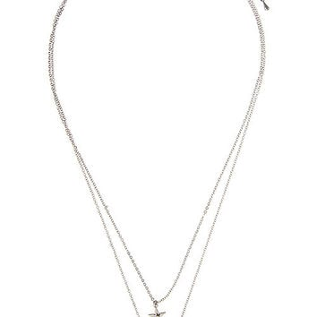 Detachable Moon and Star Pendant Necklace - Silver