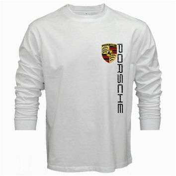 PORSCHE LOGO T-Shirt Men Long Sleeve Tshirt White Cotton Tee Shirt S - 2XL