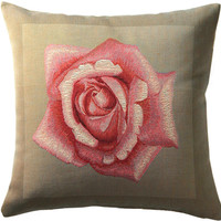 Rose Pink French Cushion Cover