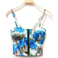 Hot Women Sexy Zipper Floral Vintage Padded Bustier Cropped Tops Zipper Bra Party Crop Top Cami Bikini Tank Free Shipping