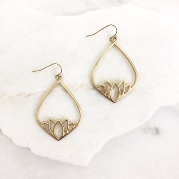 Namaste Lotus Gold Earrings