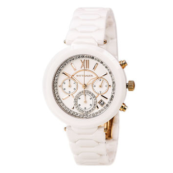 Wittnauer WN4030 Women's Taylor White Dial White Ceramic Chronograph Watch