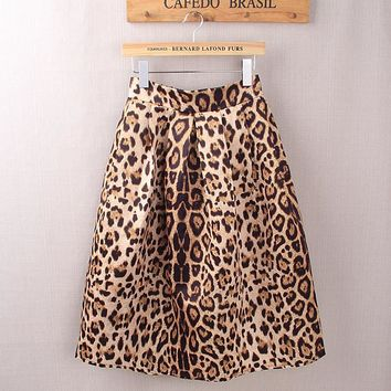 *Online Exclusive* Satin Leopard Print Pleated High Waist Midi Skirt