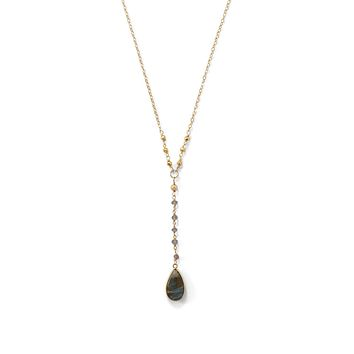 14k Yellow Gold over Sterling Silver Labradorite Drop Necklace