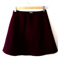 Retro/mod/60s/scooter/flared maroon/flared/A line/ maroon mini skirt