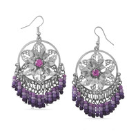 Purple Flower Power Beaded Fashion Earrings