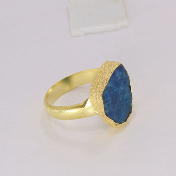 Raw Apatite Ring - Yellow Gold Plated - Handmade Ring - Raw Stone Ring - Gold Vermeil Ring - Brass Stacking Ring - Women Birthday Gift