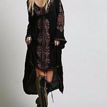 Women's Stunning Black BOHO Bell Sleeve Embroidered Midi Length Dress High/Low Hem