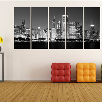 large Chicago canvas print, Chicago skyline night extra large wall art canvas, large Chicago black and white wall art canvas no:2s01