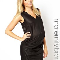 French Connection Maternity Asymmetric Drape Dress - Black