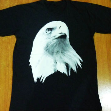Unisex Men Shirt  Women Eagle Animal Print Pop Rock Tshirt size M Black SHIRT