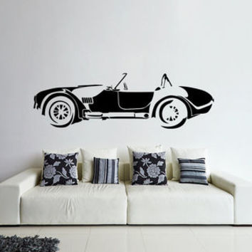 Wall Decal with 60's car, fashion car wall decal, car wall decal