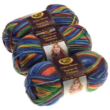 Lion Brand Yarn Color Waves Starboard Multi Color Lot of 3