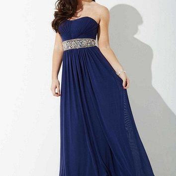 Jovani - JVNP37074 Ruched Strapless Chiffon Evening Dress