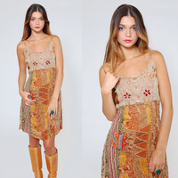 Vintage 90s Hippie Dress Caramel Boho Sun Dress EMBROIDERED Ethnic Patchwork Festival REVIVAL Dress