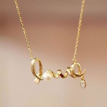 ESBONG Jewelry Shiny New Arrival Gift Stylish Korean Alphabet Diamonds Strong Character Necklace [10417791252]