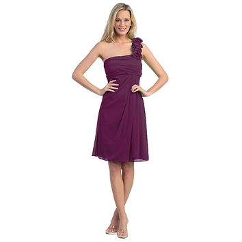 CLEARANCE - One Shoulder Knee Length Plum Chiffon Bridesmaid Dress (Size 2XL)