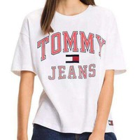 Tommy Jeans Women Men Fashion Short Sleeve Shirt Top Tee