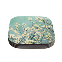 "Ann Barnes ""Pure"" Teal Floral Coasters (Set of 4)"
