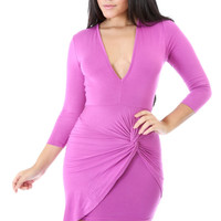Cross Over Draped Dress Magenta