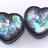 Blue Swirl Confetti Heart plugs embedded resin filled - Made to Order 00g,1/2,9/16,11/16,3/4,7/­8,1""