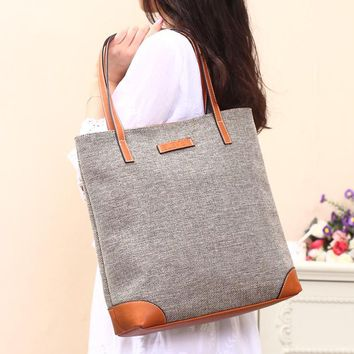 Large Linen Korean Fashion Women Handbag Canvas Bucket School Shoulder Bags Tote for Ladies Linen Fabric Shopping Bolsos Large
