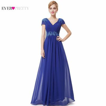 Prom Dresses 2017 New Arrival Ever Pretty HE08467SB Women Sexy V-neck Ruched Empire Appliques Long Blue Prom Dresses