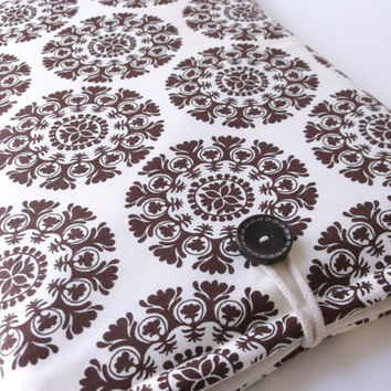 "Brown Macbook Pro Case, Laptop Bag, Mac book Pro Sleeve, 13.3 ""  Unisex Macbook Cover, Padded Tablet Protective Bag, Suzani Medallion Damask"