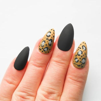 Matte Stiletto Nails, Matte Fake Nails, Matte Black, Leopard Print, Press on Nails, False Nails, Almond Nails, Long Nails, Fake Nail Art