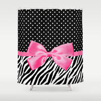 Trendy Zebra Print and Polka Dots With Hot Pink Ribbon Shower Curtain by Oh So Girly