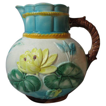 Antique Water Lily Majolica Pitcher