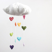 Heart Rainbow Cloud Mobile - Showered with Love - Childrens fabric mobile sculpture decoration for baby nursery