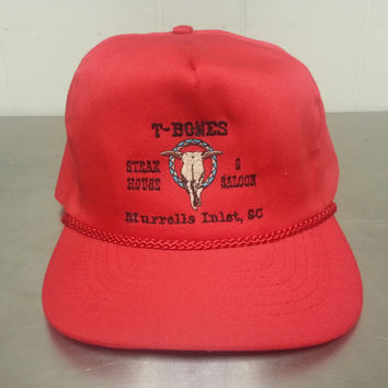 Vintage 80's T-Bones Steak House and Saloon Zip Back Slide Back Red Tourist Hat South Carolina Hipster Style Dad Hat