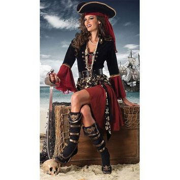 ESBONG Adult Halloween costume masquerade performances Pirates of the Caribbean pirate captain cos [8979070023]