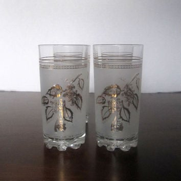 Vintage Frosted Juice Glasses with Gold Leaf Design - Set of 4 - Made in Italy