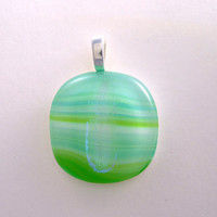 Green Striped Round Fused Glass Pendant with Contrasting Dichroic Glass Stripe, Necklace Slide