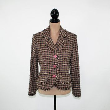 Boho Blazer Women Jacket Chenille Tweed Jacket Medium Plaid Jacket Black Purple Fall Jacket Size 10 Jacket Plaza South 90s Womens Clothing
