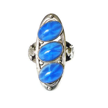 Star Sapphire Sterling Ring Eagle Native American Blue Glass Silver Southwestern Vintage Jewelry