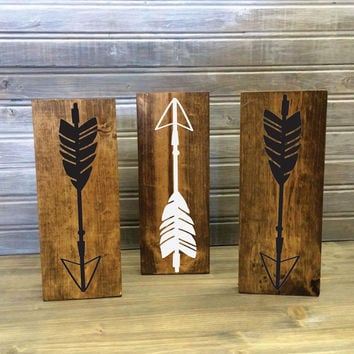 Set of Mini Wood Arrow Signs - Set of 3 or 5 - Arrow Design, Wood Home Decor, Gift for Her, Aztec Bedroom, Wood Tribal Sign, Gift Set