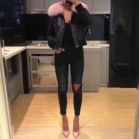 Givenchy Women Simple Fashion Fur Collar Long Sleeve Zip Cardigan PU Leather Clothes Cotton-padded Jacket Coat
