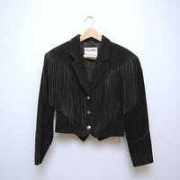 Vintage Black Fringe Suede Jacket 1980's Leather Western Cowgirl Coat Outerwear Warm Cropped Size 8 Women's Suede Leather Biker Chic